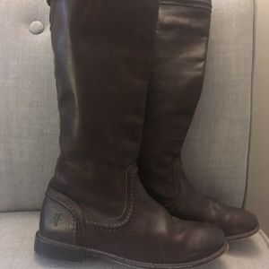 Frye Dark Brown Leather Tall Buckle Riding Boots